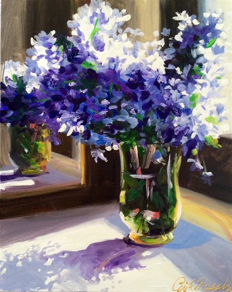 """""""PURPLE PELARGONIUM"""" original fine art by Cecilia Rosslee"""