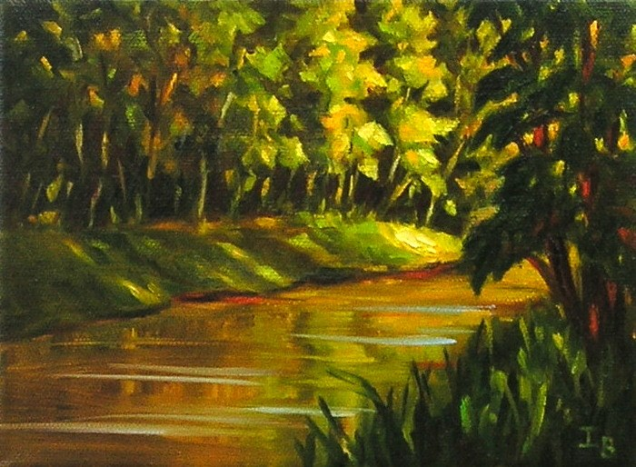 """Golden River"" original fine art by Irina Beskina"