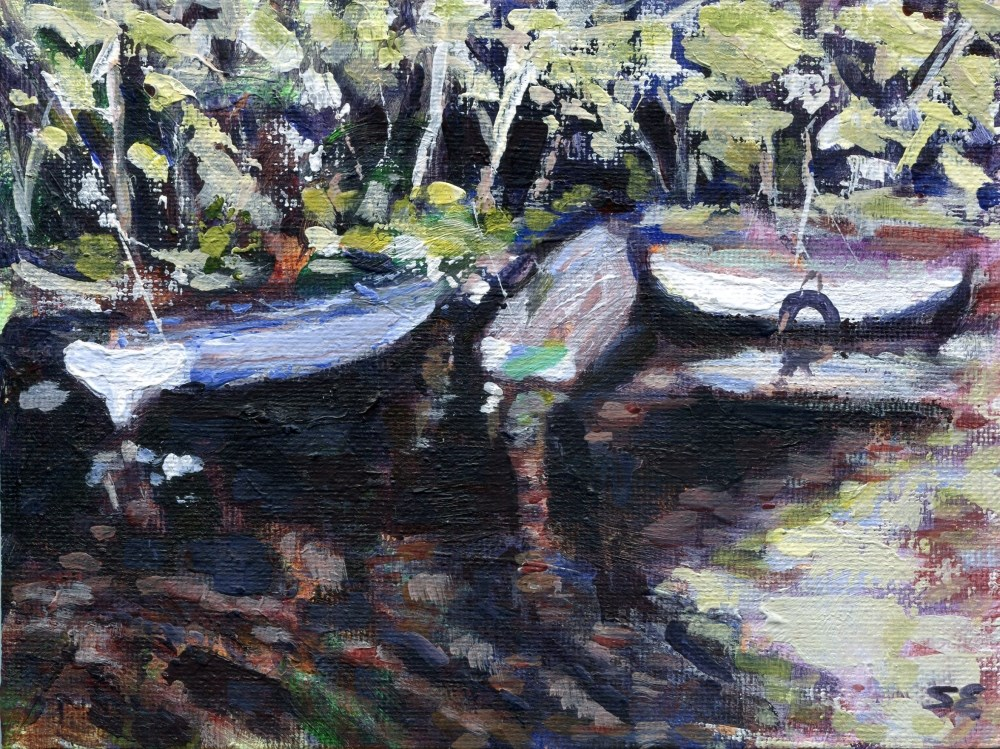"""Three Boats"" original fine art by Stanley Epperson"