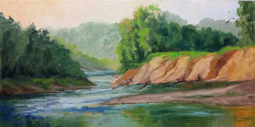 """""""Gasconade River Sunrise-en plein air"""" original fine art by Veronica Brown"""