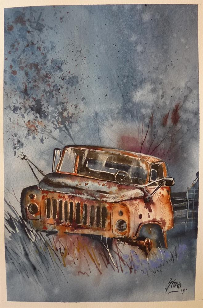 """""""The Rusty Workhorse (out to grass)"""" original fine art by Martin Stephenson"""