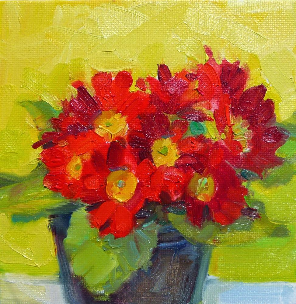 """April Primrose,still life,oil on canvas,6x6,price$200"" original fine art by Joy Olney"