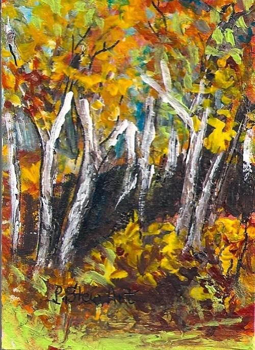 """ACEO Birch Trees Fall Foliage Autumn Leaves Miniature Impressionistic Penny StewArt"" original fine art by Penny Lee StewArt"
