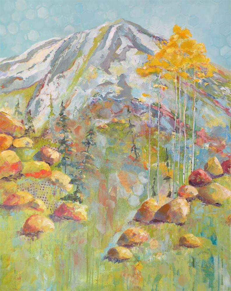 """MT. EVANS IN FAUVE BEFORE AND AFTER © SAUNDRA LANE GALLOWAY"" original fine art by Saundra Lane Galloway"