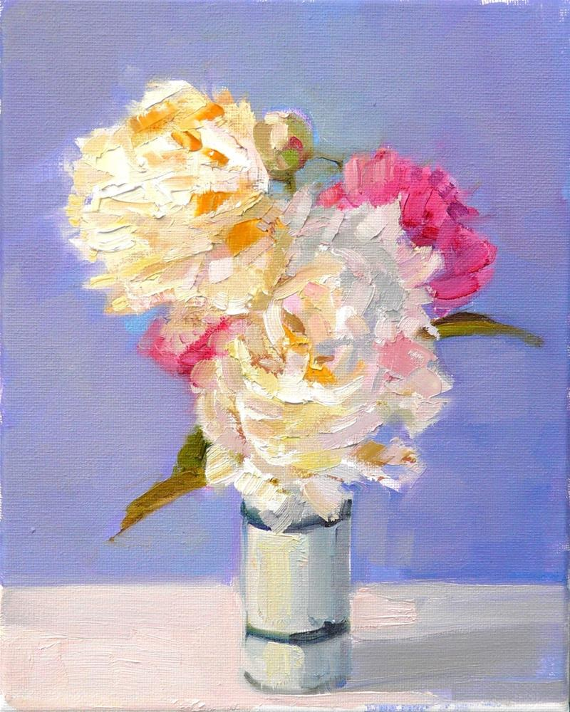 """White and Pink Peonies,still life,oil on canvas,10x8,price$250"" original fine art by Joy Olney"