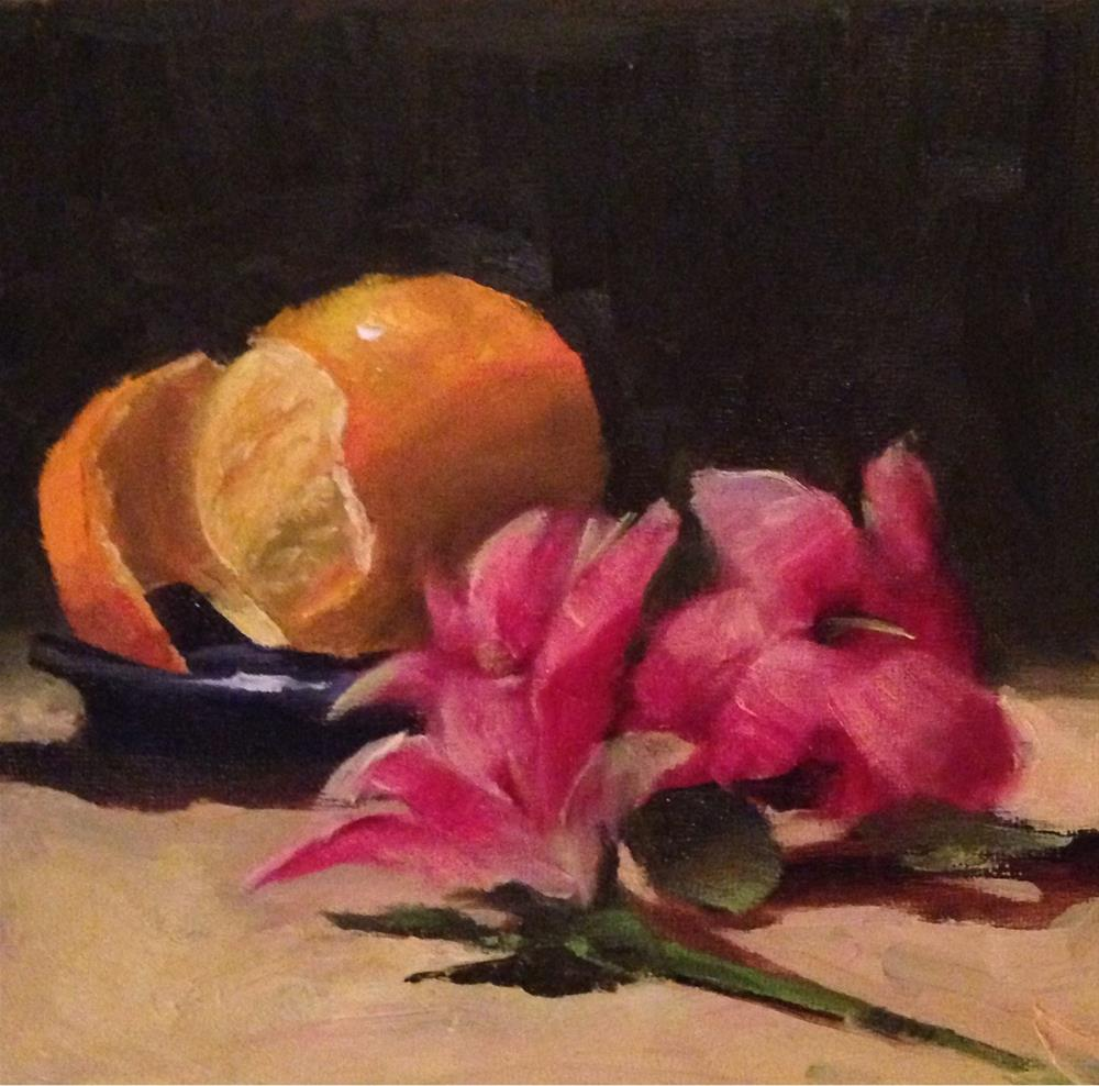 """Orange and Pink Lillies"" original fine art by Dorothy Woolbright"