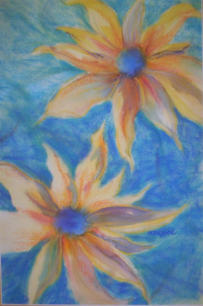"""Two Sunflowers"" original fine art by Becky Chappell"