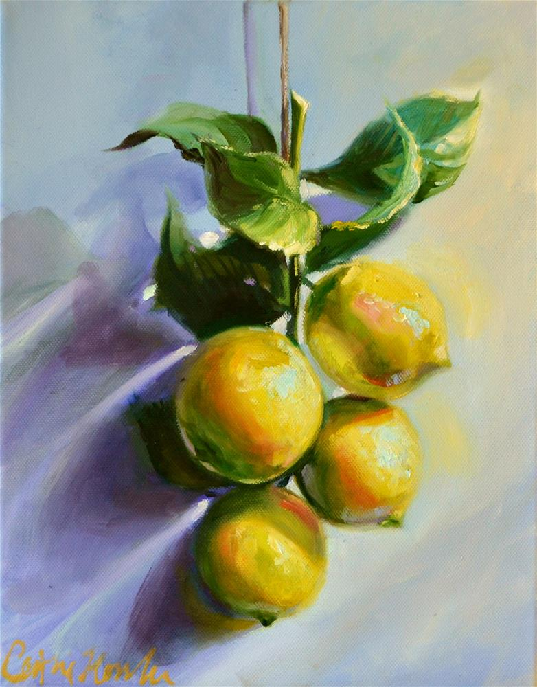 """LEMONS ON A STRING"" original fine art by Cecilia Rosslee"