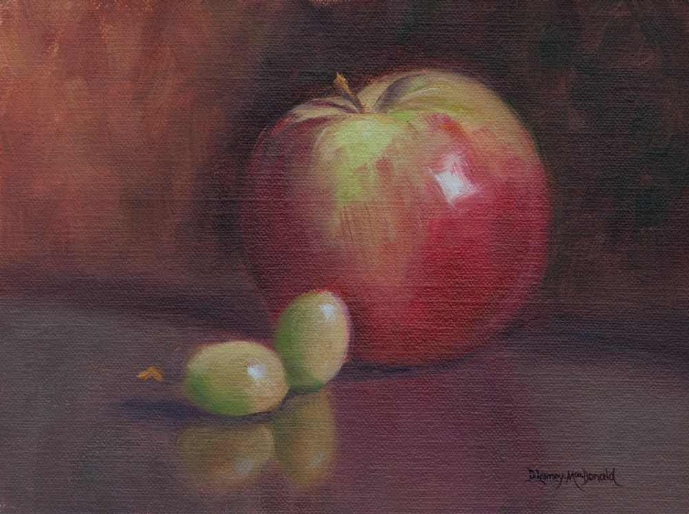 """Painting and Daily Sketch: Apple pin"" original fine art by Debbie Lamey-Macdonald"