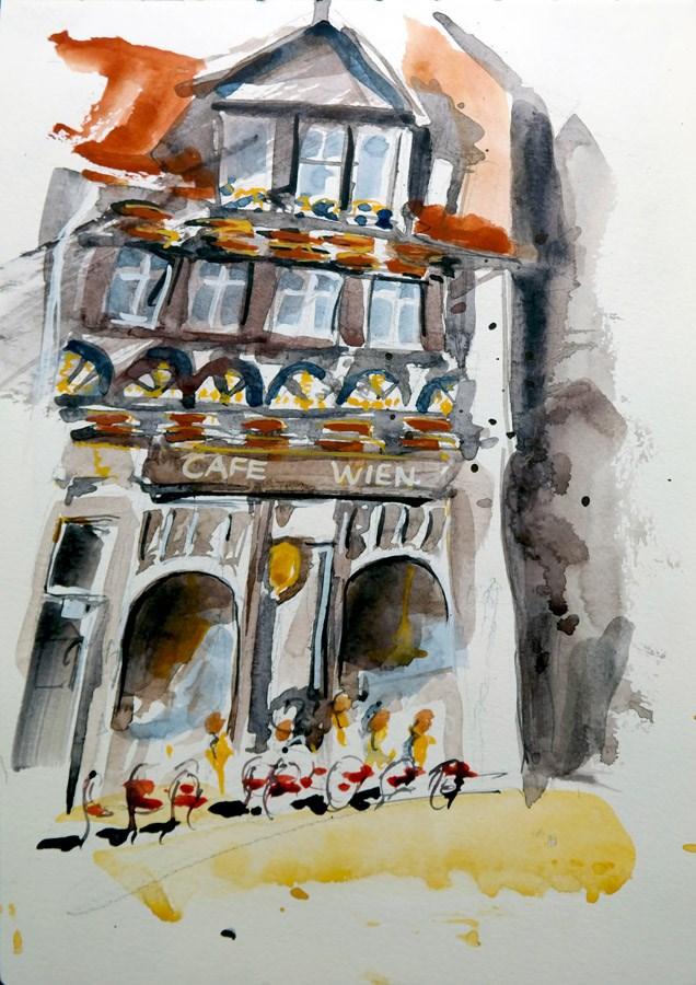 """""""1357 Café Wien"""" original fine art by Dietmar Stiller"""
