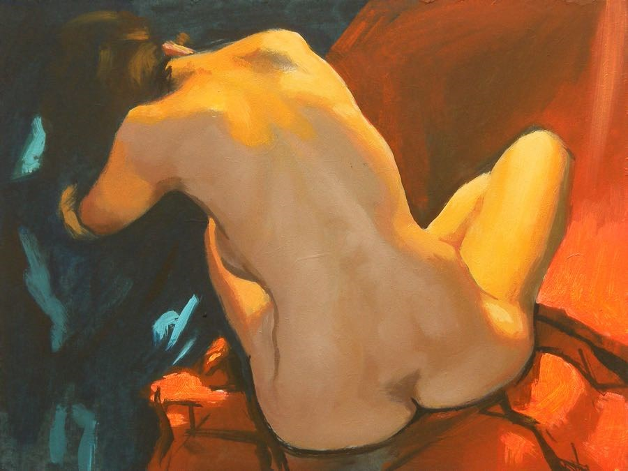 """Seated back"" original fine art by Peter Orrock"