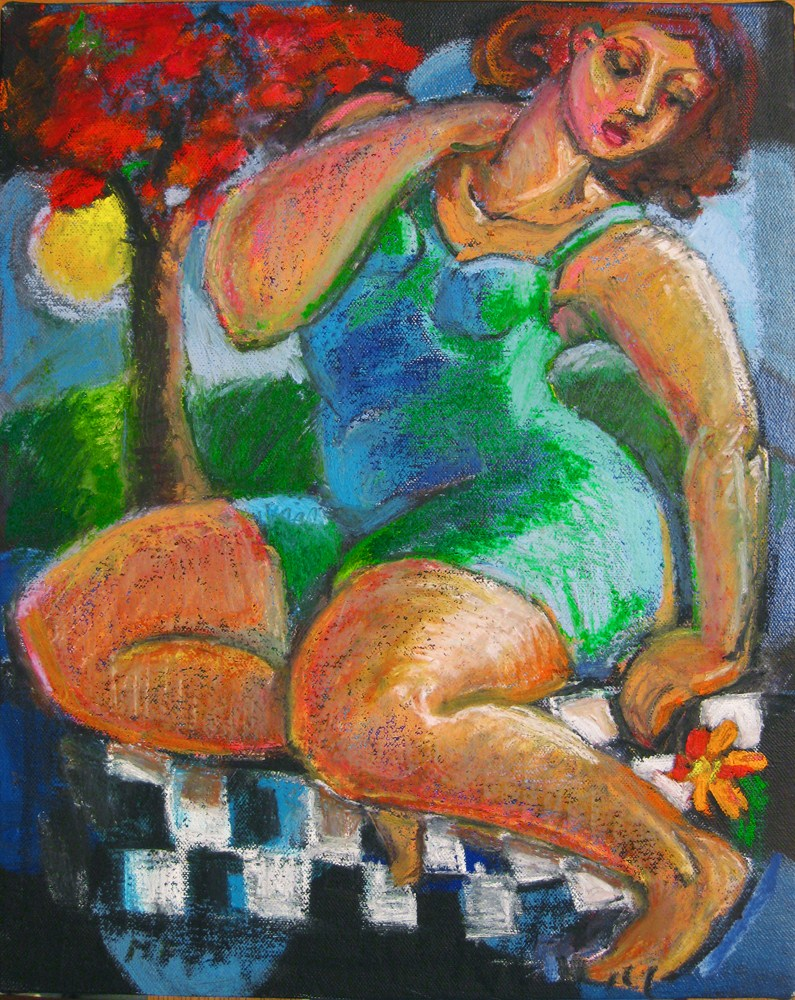 """Moon Flower, figurative oil painting, figuration, women in art, figure painters, contemporary figura"" original fine art by Marie Fox"