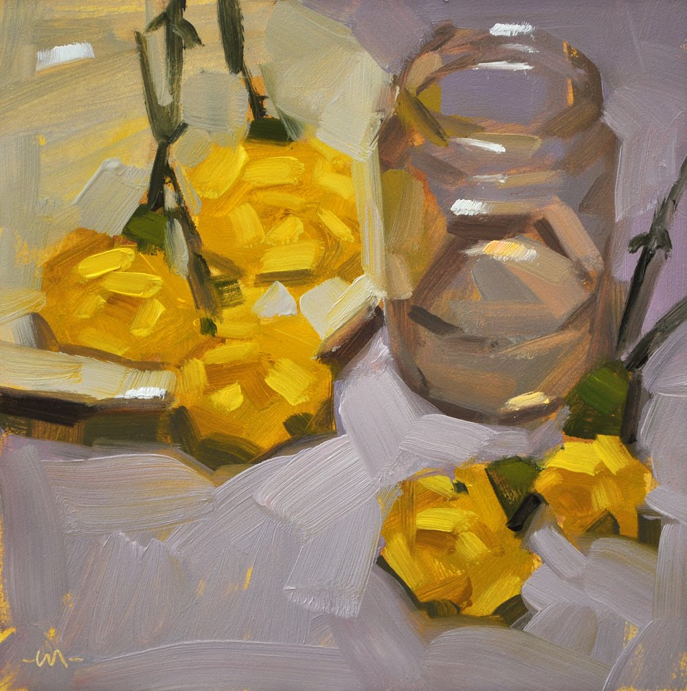 """Yellow Scattered"" original fine art by Carol Marine"