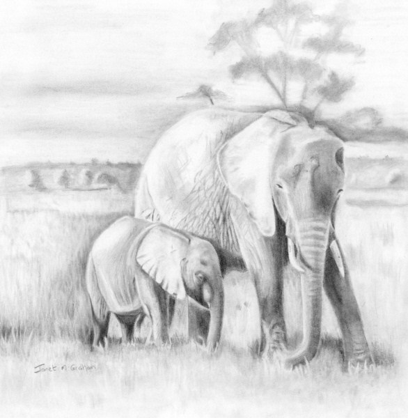 """Mom and Baby Elephant - Lean on me"" original fine art by Janet Graham"
