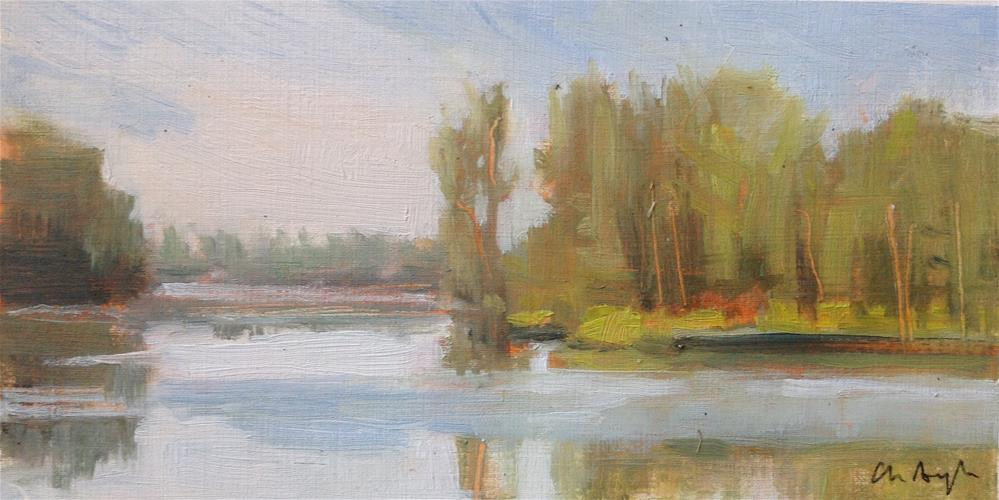 """Morning by the lake"" original fine art by Christine Bayle"