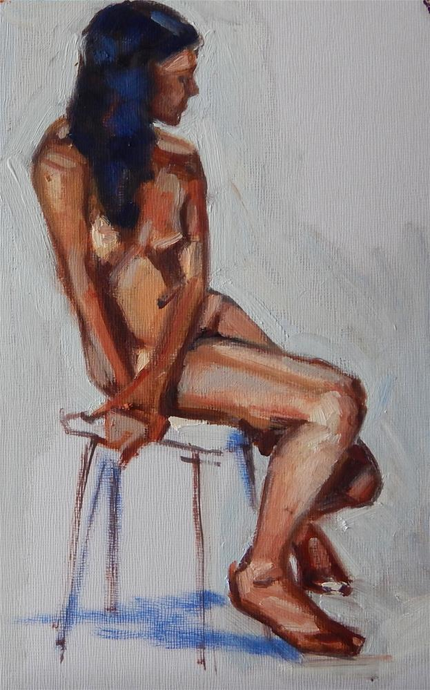 """Sitting Sideways"" original fine art by Megan Schembre"