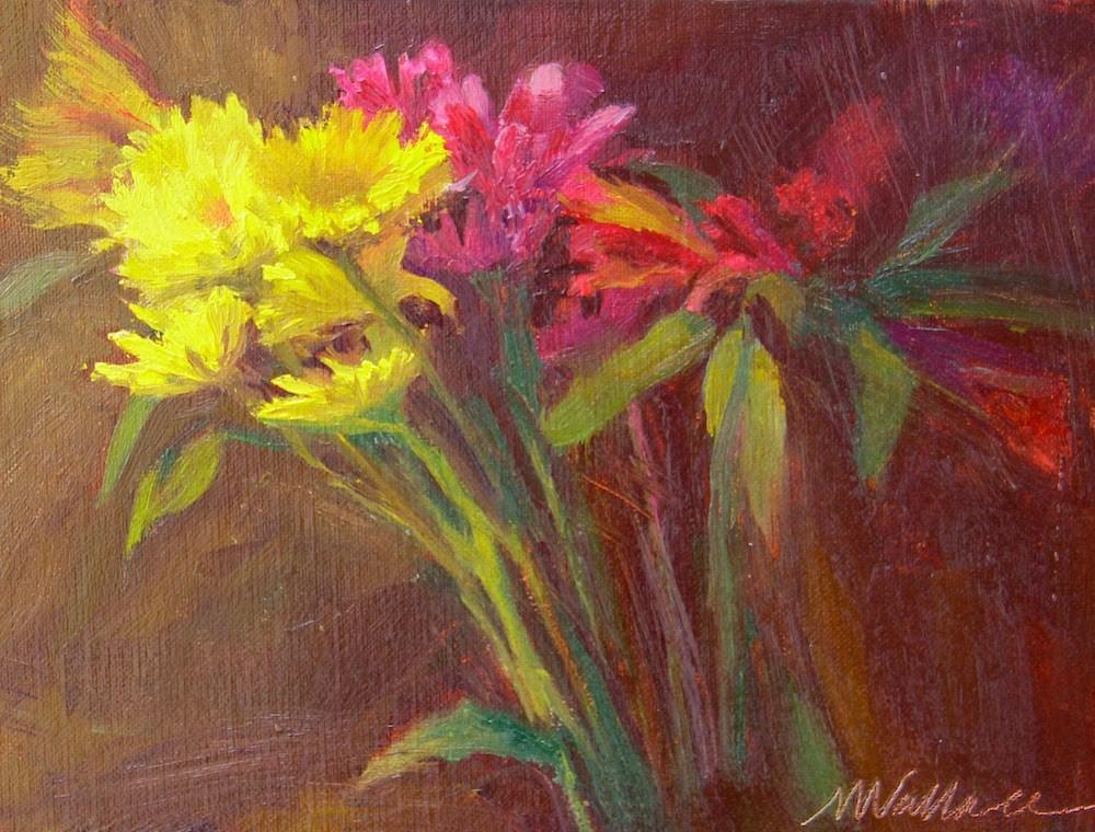"""#16 yellow and violet arrangement"" original fine art by Nancy Wallace"