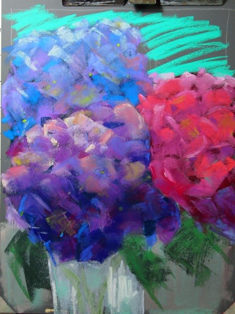 """Hydrangea Trio"" original fine art by Michelle Wells Grant"