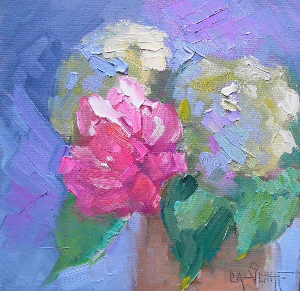 """Floral Still Life, Daily Painting, Small Oil Painting, Peony Power by Carol Schiff, 6x6x1.5 Oil, SO"" original fine art by Carol Schiff"