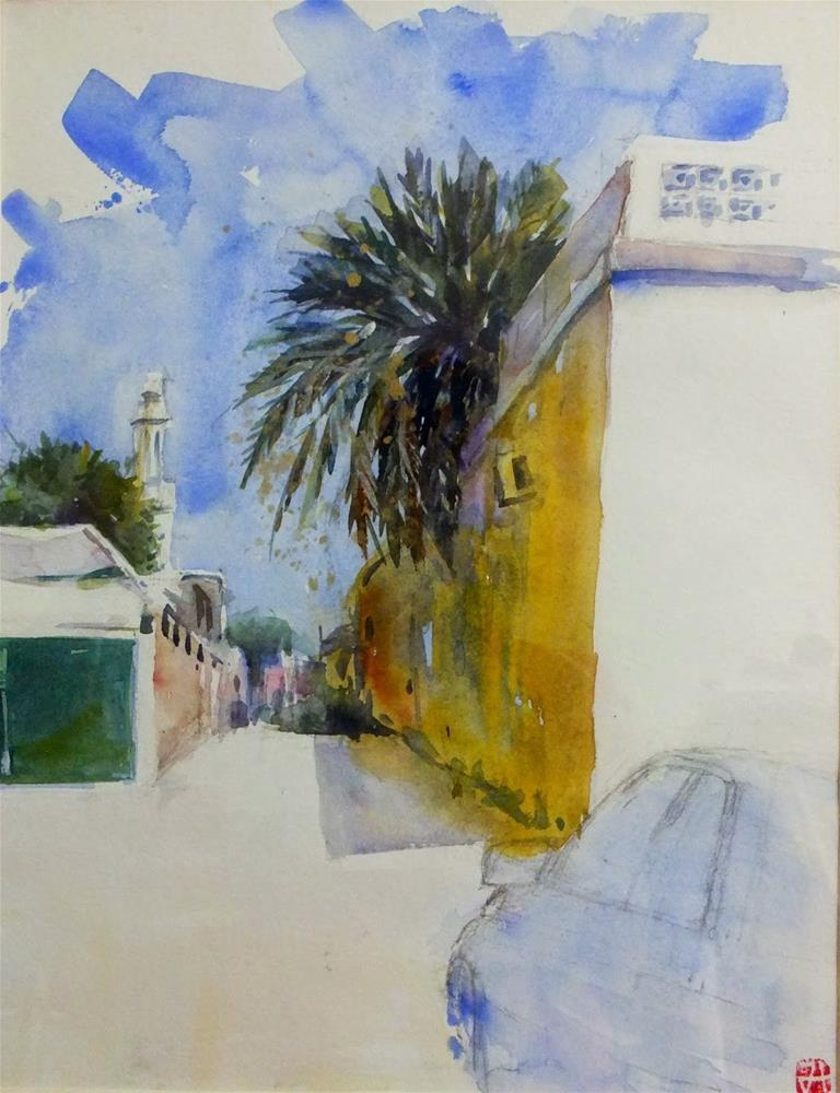 """A path in Al Ain"" original fine art by Midori Yoshino"