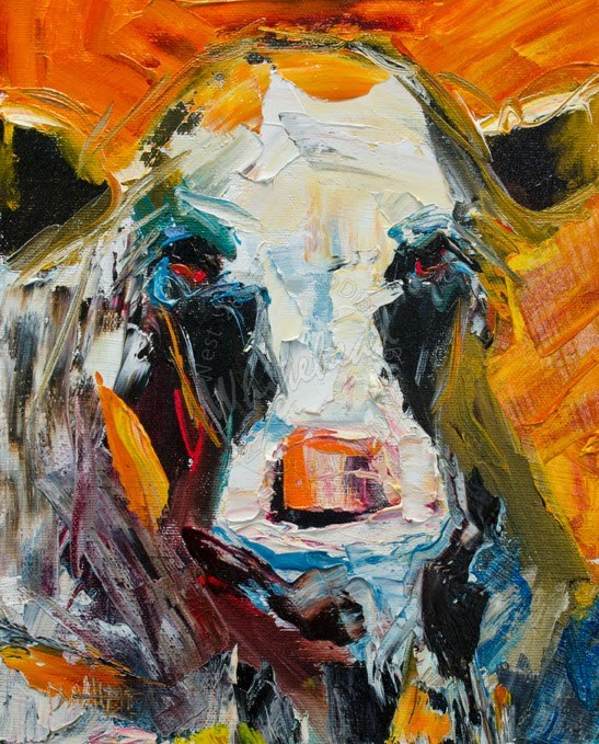 """ARTOUTWEST Diane Whitehead Cow Abstract Linen Oil Painting"" original fine art by Diane Whitehead"