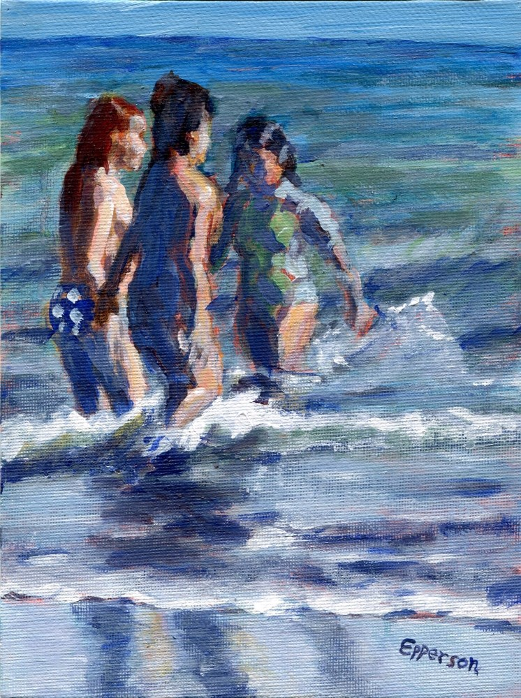 """Wading In"" original fine art by Stanley Epperson"