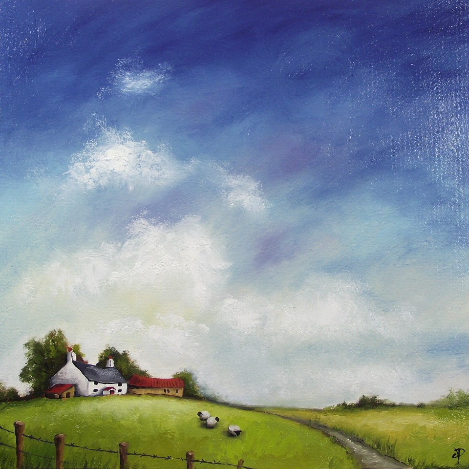"""Sky, Cottage and Sheep"" original fine art by Jane Palmer"