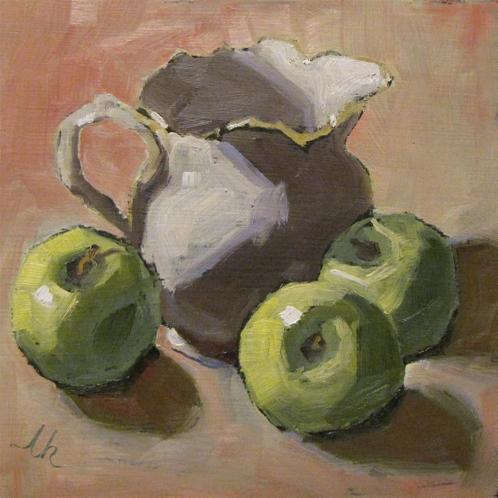 """Apples and Cream"" original fine art by Louise Kubista"