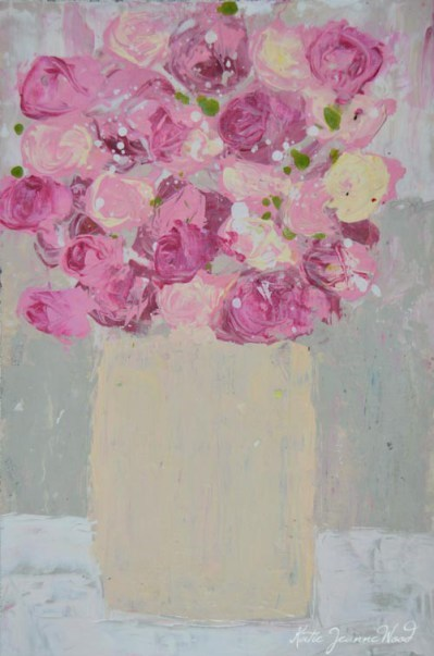 """""""Pink and yellow roses floral painting No 194"""" original fine art by Katie Jeanne Wood"""