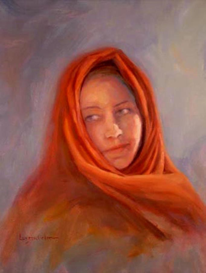 """GIRL IN THE RED SCARF"" original fine art by Dj Lanzendorfer"