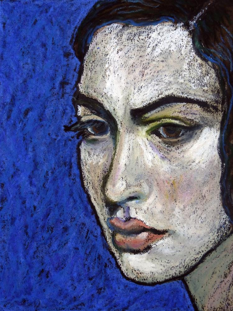 """Girl on Blue"" original fine art by Ande Hall"