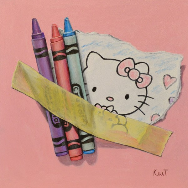 """Hello Kitty Coloring with Crayons"" original fine art by Kim Testone"