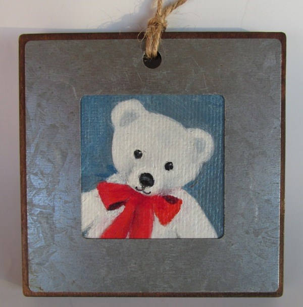 """White Teddy Ornament"" original fine art by Ruth Stewart"