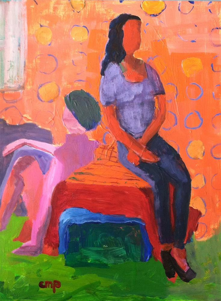 """Two women sitting"" original fine art by Christine Parker"