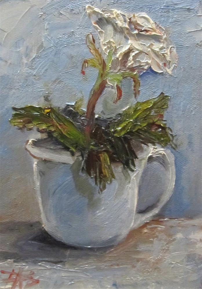 """Cup and White Rose"" original fine art by Delilah Smith"