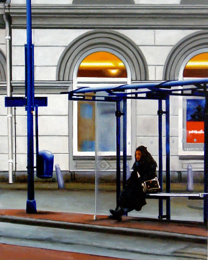 """Waiting For Bus- Street Scene Painting Of Woman Waiting For Bus"" original fine art by Gerard Boersma"