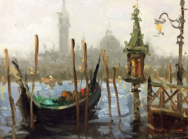 """Gondola(Plein air in Venice)"" original fine art by Mostafa Keyhani"