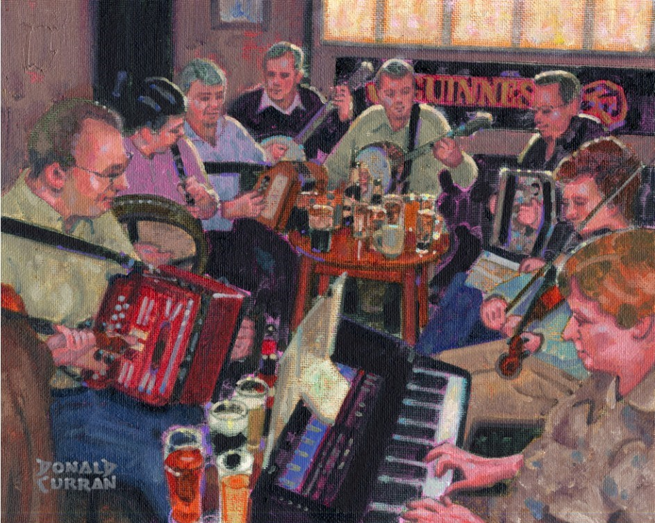 """Sunny Irish Pub"" original fine art by Donald Curran"