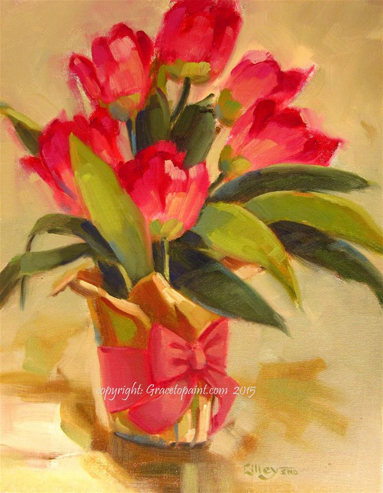 """Pot of Tulips"" original fine art by Maresa Lilley"