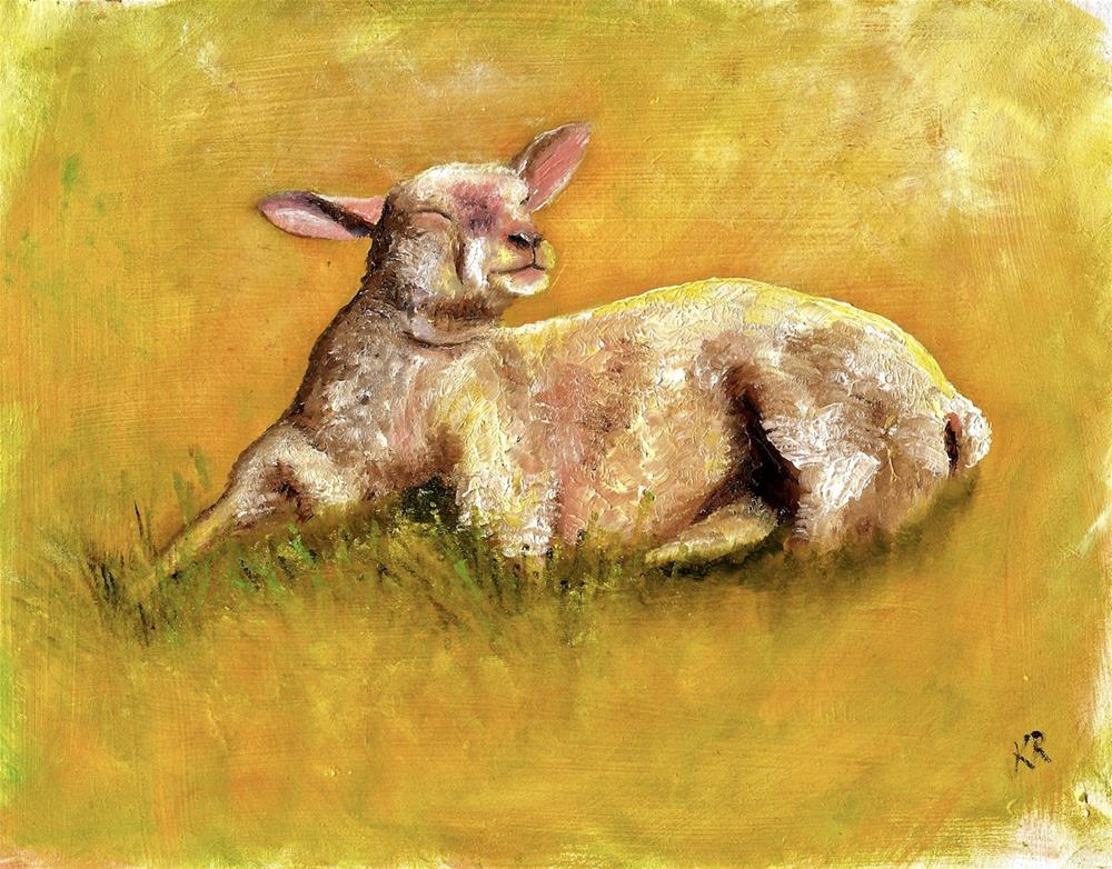 """Spring Lamb (with demo)"" original fine art by Karen Robinson"