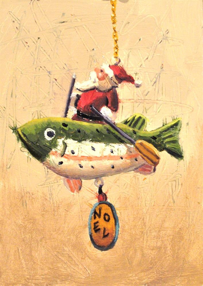 """Santa Fishing"" original fine art by Janet Broussard"