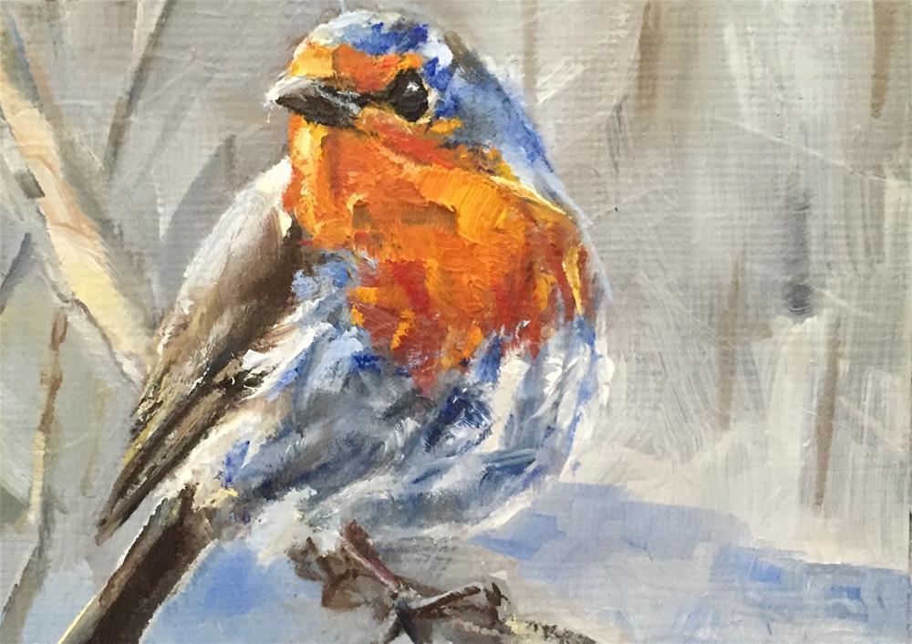"""Robin Redbreast"" original fine art by Gary Bruton"