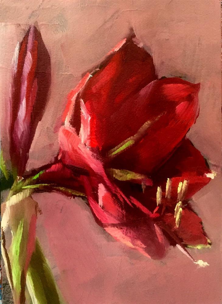 """Amaryllis ACEO"" original fine art by Gary Bruton"