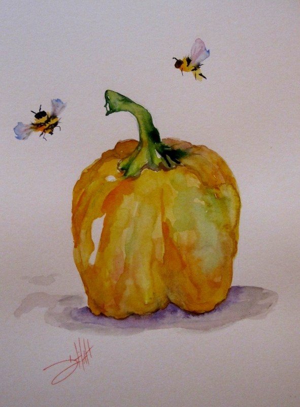 """Yellow Pepper"" original fine art by Delilah Smith"