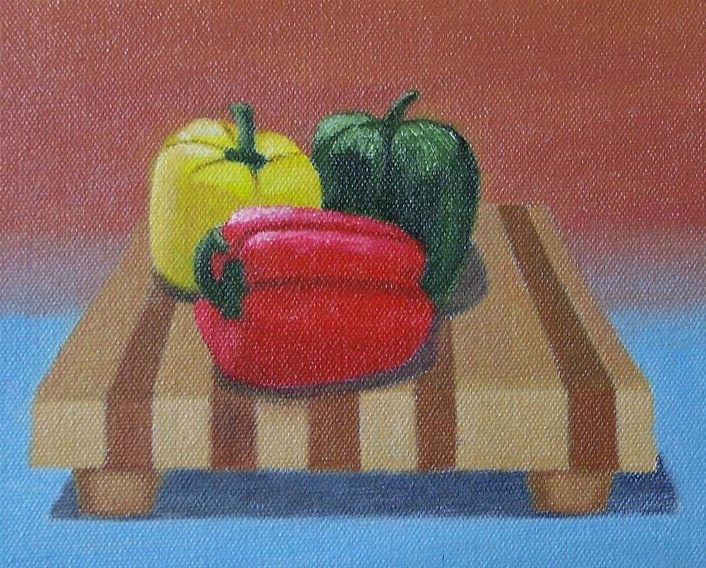 """Peppers on a board"" original fine art by John Marcum"