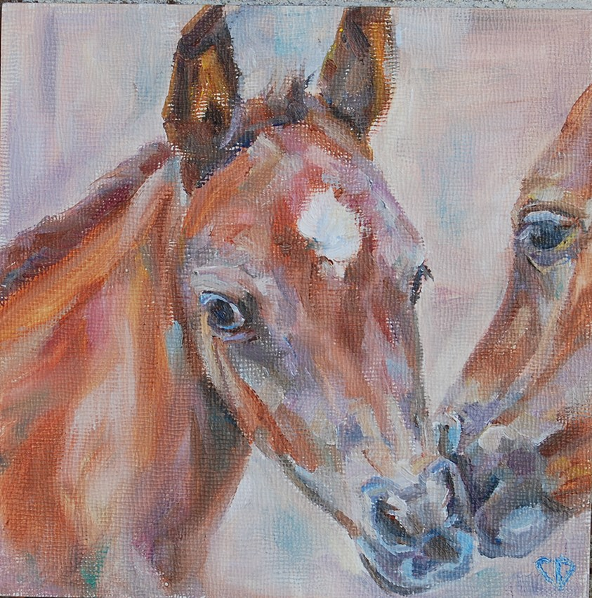 """Day 6 - Sweet Nuzzles"" original fine art by Carol DeMumbrum"