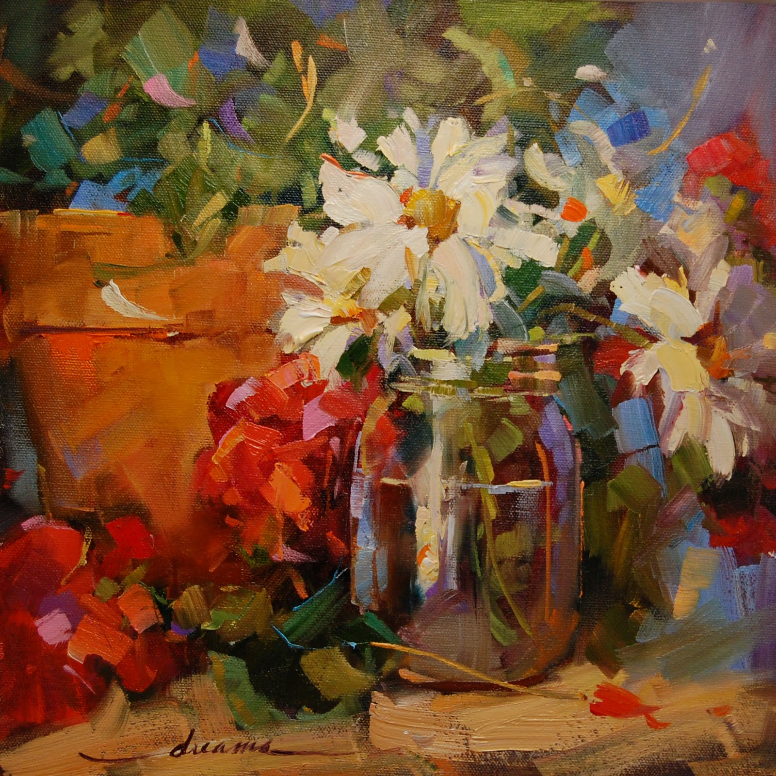 """""""Dreama's Daisies"""" original fine art by Dreama Tolle Perry"""