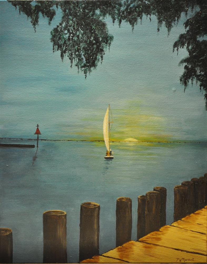 """Sunset Sail on the Lake"" original fine art by Peggy W Morvant"