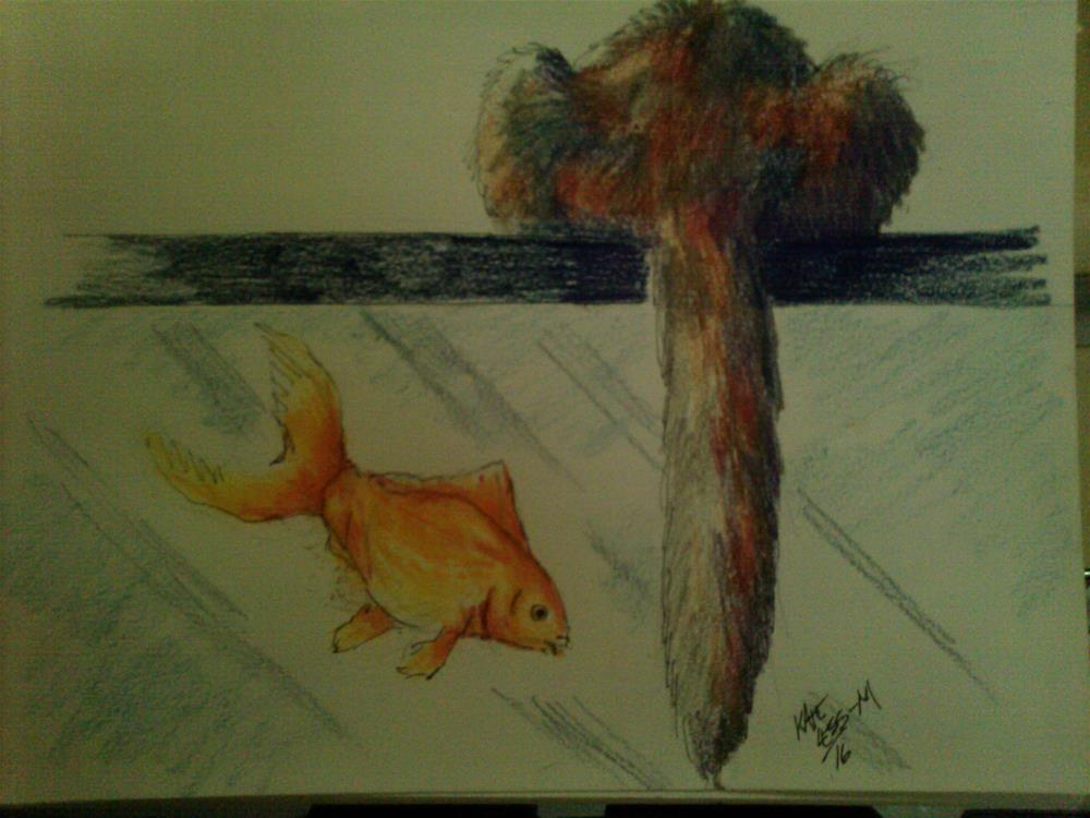 """""""Amy over Fish"""" original fine art by Kate Less-Madsen"""