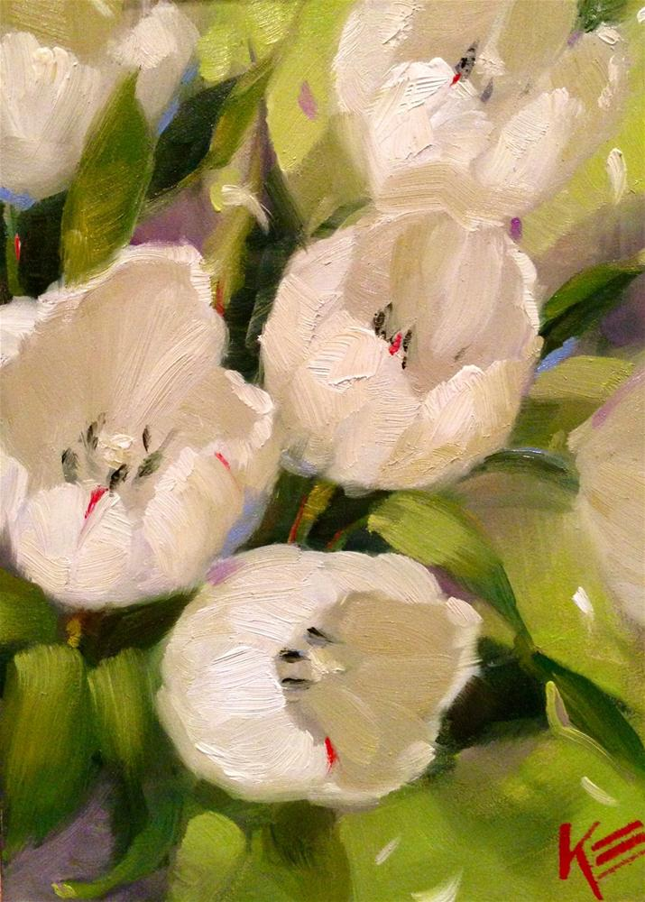 """White Tulips"" original fine art by Krista Eaton"